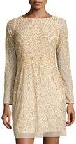 Aidan Mattox Long Sleeve Embellished Cocktail Dress, Light Gold