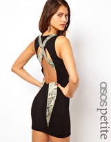 Asos Exclusive Body-Conscious Dress With Leather Snake Look Panels