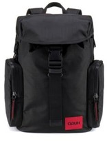 Hugo Reverse-logo backpack in ripstop fabric