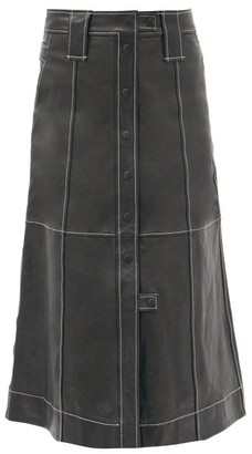 Ganni Slit-hem Topstitched Leather Midi Skirt - Black
