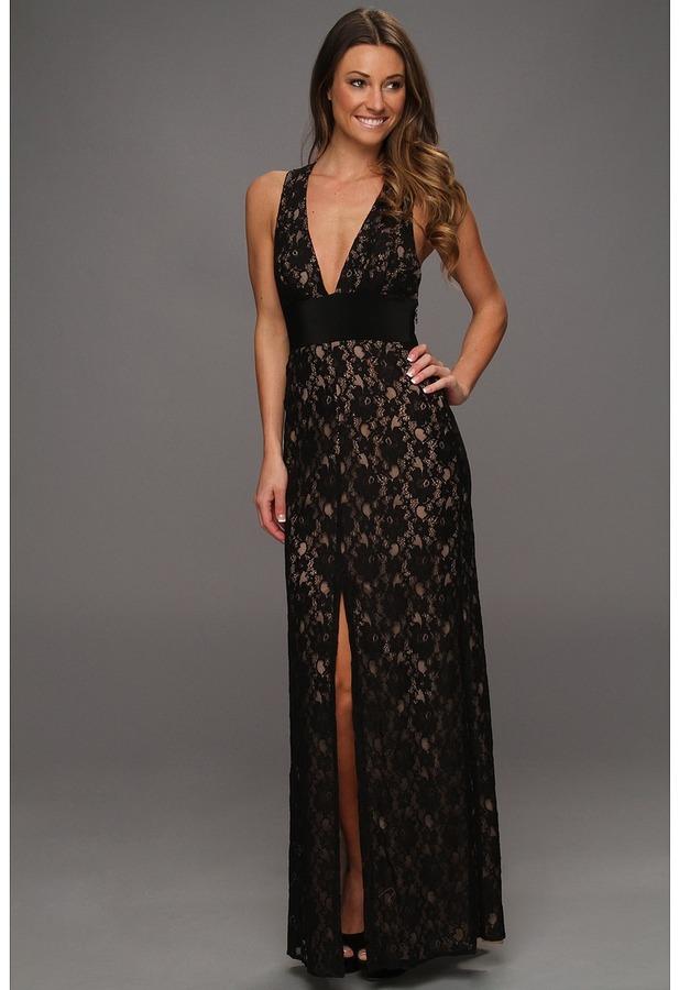 BCBGMAXAZRIA Serafina Lace Evening Gown (Black) - Apparel