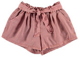 Mayoral Belted Paperbag-Waist Twill Shorts, Pink, Size 8-16