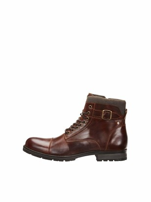 Jack and Jones Men's Jfwalbany Leather Brown Stone STS Biker Boots