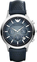 Emporio Armani Women's Blue Ar2473 Stainless Steel Leather Strap Watch