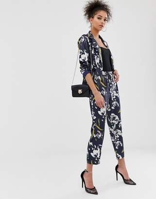 C By Cubic C by Cubic floral high waist trousers-Navy