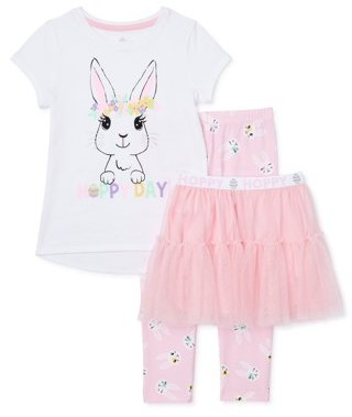 Easter Girls Bunny Graphic Tee, Printed Leggings, & Tutu Skirt, 3-Piece Outfit Set, Sizes 4-18