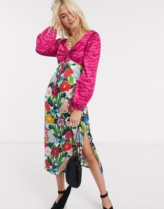 Glamorous mixed print floral midi dress