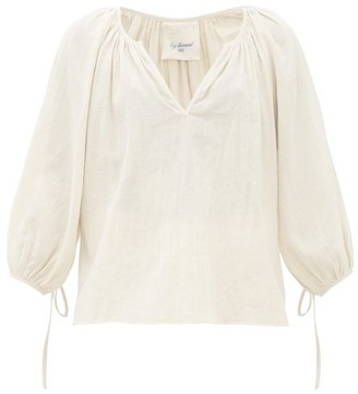 Loup Charmant Capucine Tie-cuff Cotton Blouse - Womens - Ivory