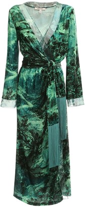 Roberto Cavalli Printed Velvet & Chiffon Wrap Dress