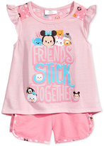 Disney Disney's® Tsum Tsum 2-Pc.Graphic-Print Shirt & Shorts Set, Little Girls (2-6X)