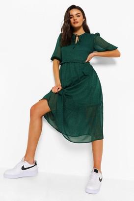boohoo Polka Dot Tie Neck Puff Sleeve Midi Dress