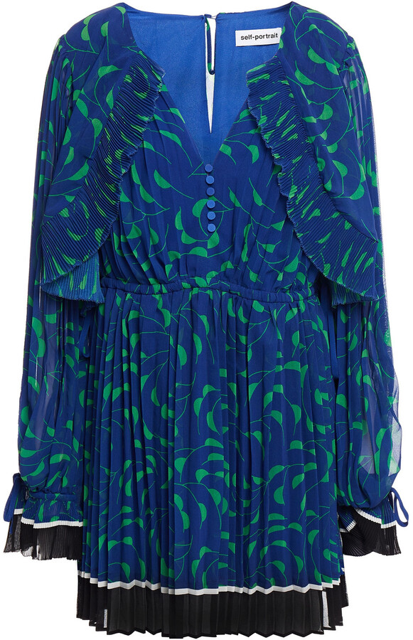 Thumbnail for your product : Self-Portrait Gathered Pleated Printed Chiffon Mini Dress