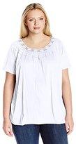 Fresh Women's Plus-Size Short Sleeve Crochet Neck Crinkle Jersey Top