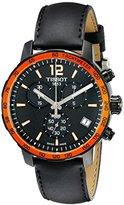 Tissot Men's T095.417.36.057.01 'Quickster' Black Dial Black Leather Strap Chronograph Swiss Quartz Watch