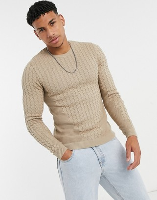 ASOS DESIGN muscle fit lightweight cable jumper in oatmeal