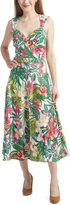 Bettie Page White & Green Tropical Roman Holiday Dress