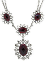 2028 Silver-Tone Crimson Stone and Crystal Pendant Necklace