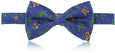 Moschino Blue Palms and Teddy Bears Printed Twill Silk Pre Tied Bow Tie