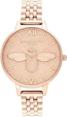 Olivia Burton Glitter Dial Pale Rose Goldtone Bracelet Watch