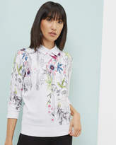 Ted Baker Passion Flower Cotton Collared Jumper Ivory