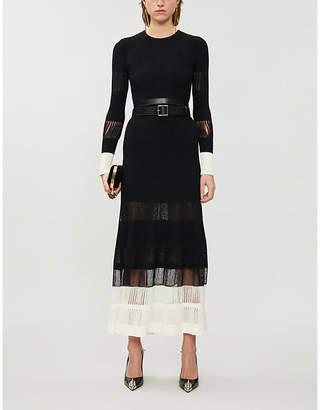 Alexander McQueen Sheer-panelled pleated sleeveless woven midi dress