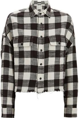 R 13 Cropped Plaid Button-Down Shirt