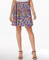 ECI Floral-Print Faux-Wrap Skirt