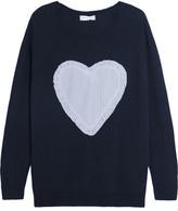 Chinti and Parker Appliquéd Merino Wool Sweater - Midnight blue