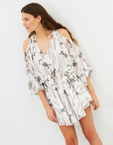 Shona Joy Bonaire Open Shoulder Drawstring Mini Dress