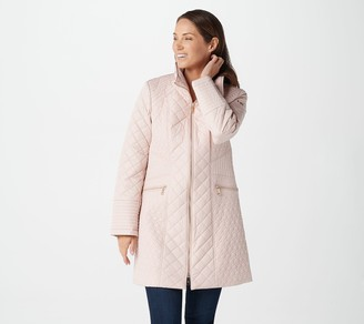 Dennis Basso Water-Resistant Mixed Quilted Zip-Front Jacket