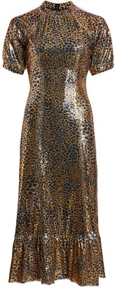 Sea Animal Print Sequin Midi Dress