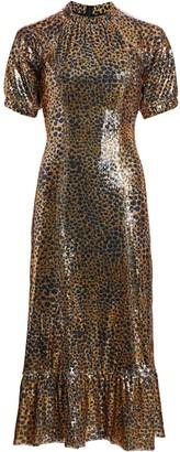 Sea Animal Print Sequin Midi Dress