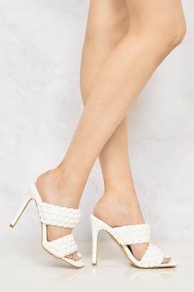 Miss Diva Vixen Open Toe Double Strap Plait Detail High Heel Mule in White