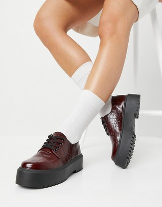 ASOS DESIGN Mine chunky flat shoe in burgundy croc