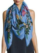 Gucci New Flora Shawl, Blue