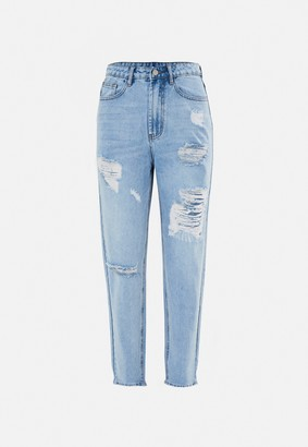 Missguided Blue Highwaisted Distressed Thigh Mom Jeans