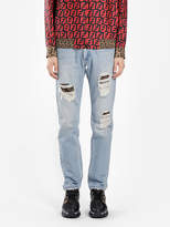 Fendi FENDI MEN'S BLUE DISTRESSED JEANS WITH INSIDE PATCHES