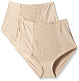 Ellen Tracy Women's Perfect Shape Control Brief with Dot Mesh (Pack of 2)