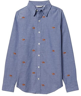 Janie and Jack Embroidered Button-Up Top (Toddler/Little Kids/Big Kids) (Blue) Boy's Clothing