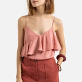 La Redoute Collections Ruffled Shoestring Strap Cami