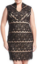 Marina Plus Sleeveless V-Neck Lace Minidress