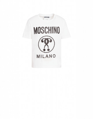 Moschino Double Question Mark Jersey T-shirt Man White Size 44 It - (34 Us)