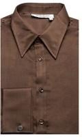 Saint Laurent Men's Cotton Silk Point Collar Dress Shirt Brown.