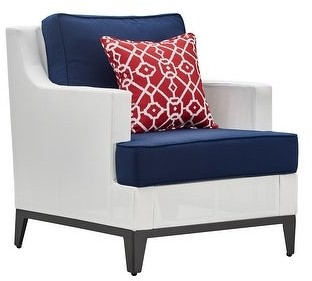 """Tommy Hilfiger Hampton Outdoor 36"""" Mesh Chair, Coastal White and Navy"""