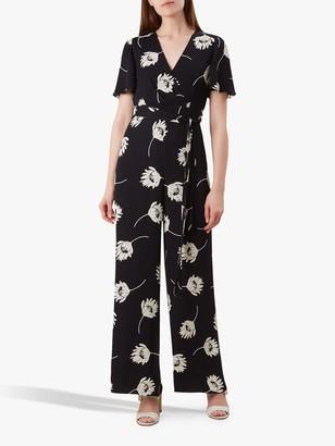 Hobbs Alexis Floral Jumpsuit, Black/Ivory