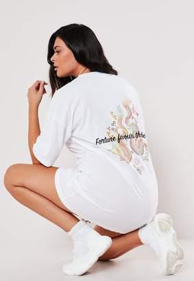 Missguided Plus Size White Oversized Dragon Print T Shirt Dress