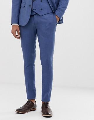 Asos Design DESIGN wedding super skinny suit trouser in micro texture in mid blue