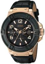 GUESS GUESS? Men's U0040G5 Leather Quartz Watch with Dial