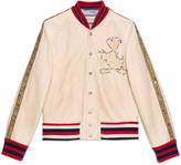 Gucci Leather bomber jacket with Donald Duck appliqué