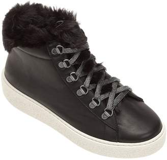 Victoria Faux Fur Wedge Ankle Boots - Black